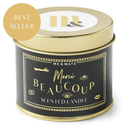 Tin candle Merci Beaucoup- ME&MATS - Gift - Luxe - Personal message - Wrapped gift