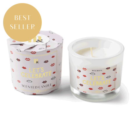 Wrapped scented candle Let's Celebrate - ME&MATS - Gift - Luxe - Personal message - Wrapped gift