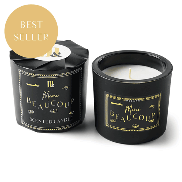 Wrapped scented candle Merci Beaucoup - ME&MATS - Gift - Luxe - Personal message - Wrapped gift