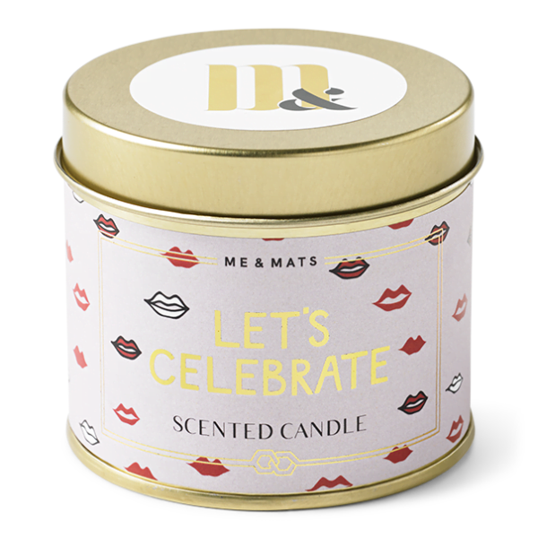 Tin candle Let's Celebrate - ME&MATS - Gift - Luxe - Personal message - Wrapped gift