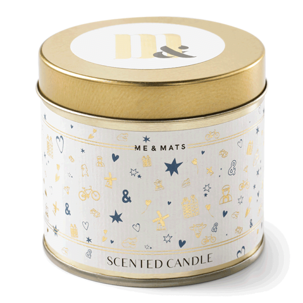 Tin candle Dutch Print - ME&MATS - Gift - Luxe - Personal message - Wrapped gift