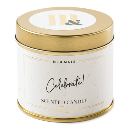 Tin candle Celebrate! - ME&MATS - Gift - Luxe - Personal message - Wrapped gift