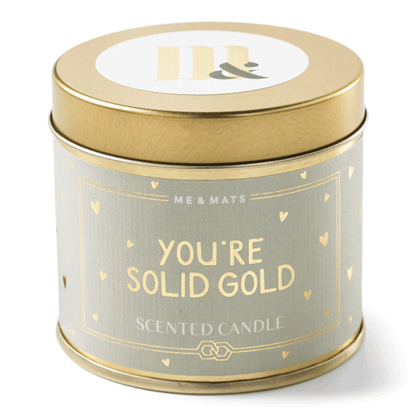 Tin candle Solid Gold- ME&MATS - Gift - Luxe - Personal message - Wrapped gift