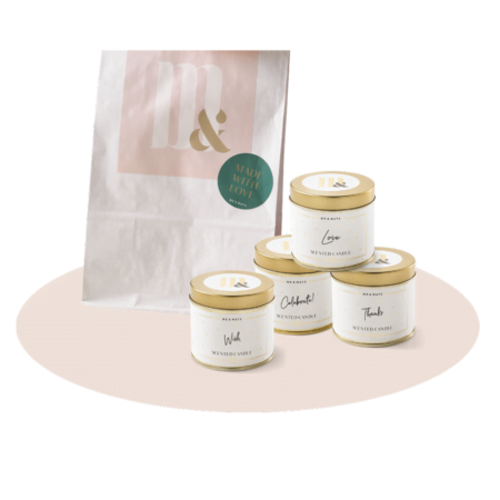 Giftset 5 tin scented candles - ME&MATS - Gift - Luxe - Personal message - Wrapped gift