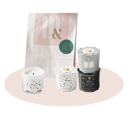 Giftset 3 scented candles - ME&MATS - Gift - Luxe - Personal message - Wrapped gift