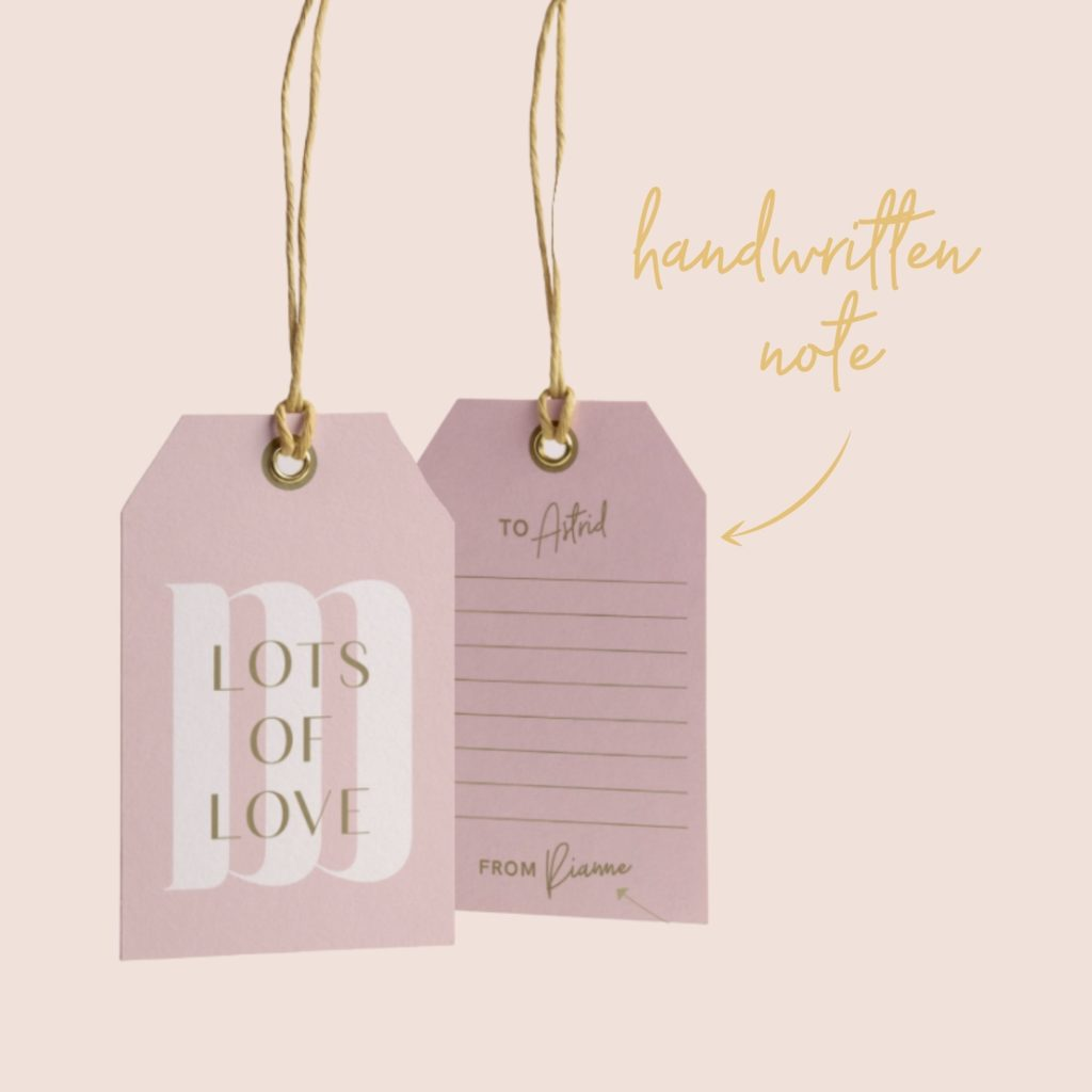 ME&MATS gift tag handwritten note personal gift